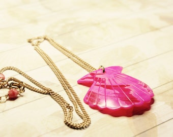 Pink Mermaid Shell Necklace, Nautical Necklace, Summer Necklace, Beach Necklace, Pink Shell, Ready to Ship