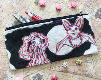 SALE - Zippered pouch - Night - Hand drawn, Handmade ORIGINAL ART - pencil pouch pencil case planner bag