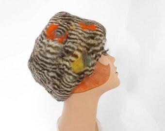 Vintage feather hat, 1960s cloche bucket hat, Ronnie
