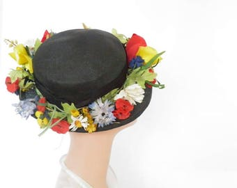 Vintage tilt hat, 1940s black straw with flowers