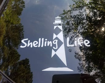 Shelling Life® Lighthouse Vinyl Decal - Car Decal - Lighthouse Decal - Shell Decal