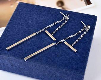 925 Sterling Silver Solid Plain Bar Stick Drop Dangle Stud Earrings Women Gift
