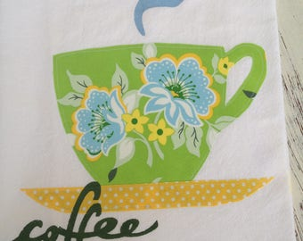 Tea Towel, Flour Sack,  Appliqued Coffee Cup, Green and Blue Amy Butler Fabric