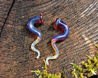 Fire Zag snug 2G gauged ear plugs earrings talons for stretched piercings Made to Order