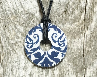 Navy Blue and White Pendant, Classic Blue and White Pendant, Metal Washer Pendant, Blue and White Jewelry