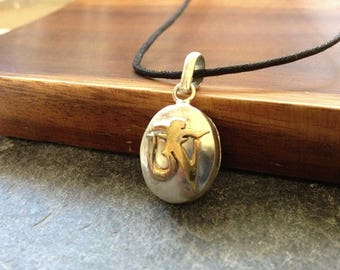 Handmade White Metal Om Amulet Ga'u Locket Pendant Necklace From Nepal