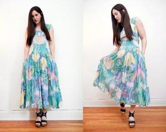 Vintage Indian Cotton Gauze Phool Dress Boho Dress Hippie Dress Ethnic Floral Gauze Cotton Dress 70s