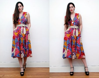 Vintage Floral Garden Tea Dress Grunge Revival 80s Dress