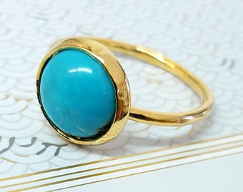 Delicate Gold Turquoise Ring, Gold Turquoise Ring, Gold Stone Ring, December Birthstone Ring, Gemstone Ring, Something Blue, Gift For Her