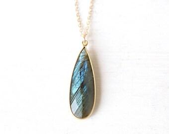Long Statement Flashing Labradorite Gemstone Teardrop Pendant Necklace // 14K Gold Filled Chain // Long Layering Gemstone Necklace