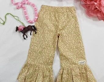 nelles Tan Floral Ruffles 12 months 4 T, elastic waist sweetest pink rosebud ruffles on tan fabric, year-round wear, girls ruffled pants