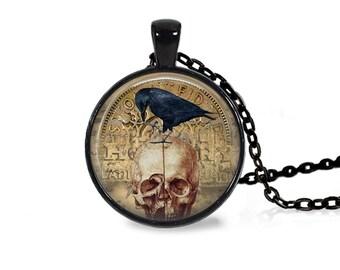 "25mm Raven In Skull Cabochon Black 18"" Necklace"