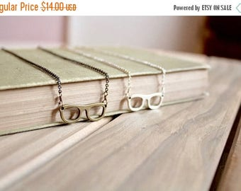 25% OFF SALE Small eyeglass charm necklace, silver tone or bronze, Four Eyes Are Better Than None