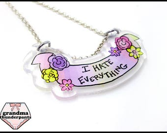 I Hate Everything Necklace, Glitter Jewelry, Flower Necklace, Introvert Gifts