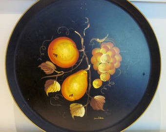 Black Tole Tray, Vintage, Hand Painted, Fruit, Round Tray, Cottage Chic, French Country, Farmhouse