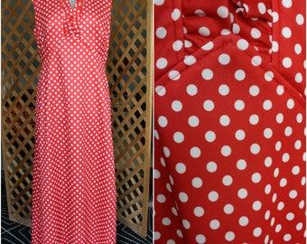 Vintage Womens 1970s Red and White Polka Dots Long Dress Maxi Medium Large Vintage 14 Retro Halloween Christmas Disco