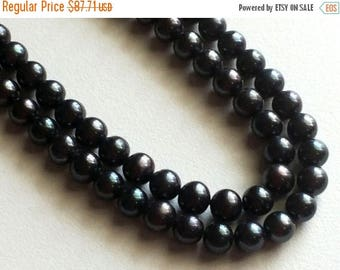 ON SALE 55% Pearls - Black Color Pearls, Natural Fresh Water Round Pearls, Natural Pearls, 7mm, 7.5 Inch Strand, 26 Pieces, Wholesale Price