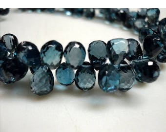 ON SALE 55% London Blue Topaz Beads - Blue Topaz Tear Drop Bead, Faceted Briolette Beads - 6x8mm -6x9mm Approx - 10 Pieces