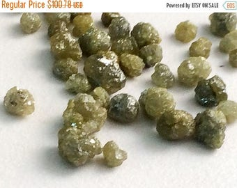ON SALE 55% Green Rough Diamond Rondelles, Green Diamonds, Loose Diamonds, Rough Diamonds, Raw Uncut Diamonds, Conflict Free, 3-5mm, 4 Pcs