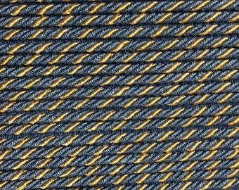 french CORD WITH LIP Blue and gold