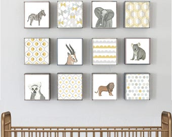 zoo animals nursery safari nursery wall art, jungle decor, twelve set of 5x5 art blocks- zoo -boho nursery geometric decor- redtilestudio