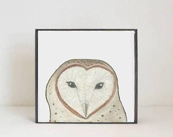 barn owl woodland nursery art, forest animal nursery prints, 5x5 art block, baby animal print, forest decor, woodland animal redtilestudio