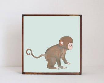 monkey tropical nursery prints- tropical decor- animal print- boho nursery- jungle nursery art block nursery decor redtilestudio