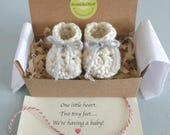 Pregnancy Reveal to Grandparents, Pregnancy Reveal, Announcement, Crochet Baby Shoes,  BOOTIES IN A BOX®,  Ready to Ship