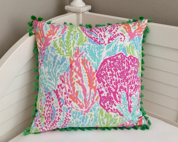 Lilly Pulitzer Let's Cha Cha in Tiki/Shorely  Designer Pillow Cover with Green Tassel Trim - Square, Euro and Lumbar Sizes
