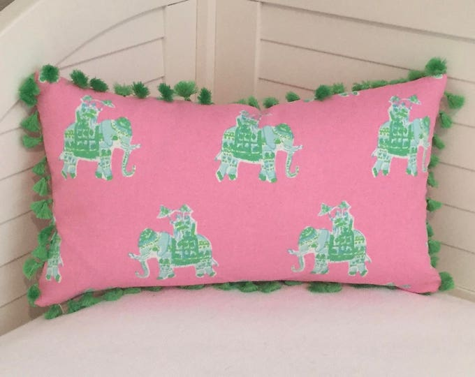 Lilly Pulitzer Bazaar in Tiki Pink Elephants Designer Pillow Cover - Square, Euro and Lumbar Sizes