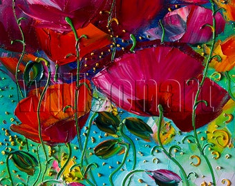 Floral Canvas Modern Flower Oil Painting Poppies Textured Palette Knife Original Art 12X16 by Willson Lau