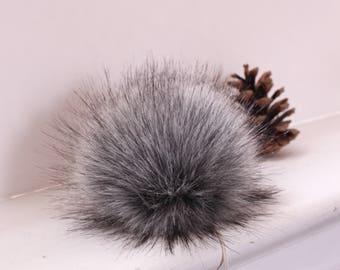 Grey Fox Faux Fur Pompoms. Grey Fur Pompom. Faux Fur Pom Pom. Snew On Pompom. Snap on pompom. faux fur fabric. grey faux fur. pompom for hat