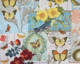 ON SALE REMNANT--Anjou for You Collage Print Pure Cotton Fabric from Michael Miller--1.75 YardS