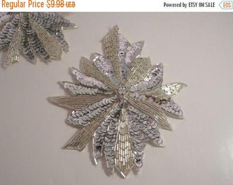ON SALE Silver Crystal Large Beaded and Sequined Applique--One Piece