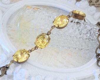 Crystal Bracelet, Vintage Crystal Bracelet, Jonquil Yellow, Estate Jewelry, Chain and Crystal Bracelet, Rhinestone Bracelet, Light Yellow