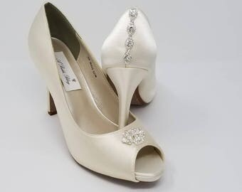 Ivory Wedding Shoes Ivory Bridal Shoes with a Sparkling Design and Back Crystal Design -  Over 100 Colors To Pick From