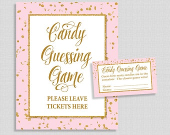 Candy Guessing Game, Pink and Gold Glitter Confetti, Guess How Many Candies, M&M's, Jelly Beans, etc., INSTANT PRINTABLE