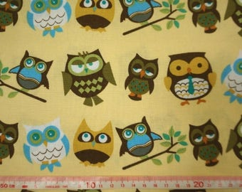 """Good owls - 1 yard - cotton linen - 3 colors - fabric ,forest, cute, Check out with code """"5YEAR"""" to save 20% off"""
