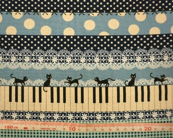 Cat fabric -  Piano and black cats - 3 colors - 1 yard - cotton linen - lace,dot, fabric - for tote, clutch, Journal cover