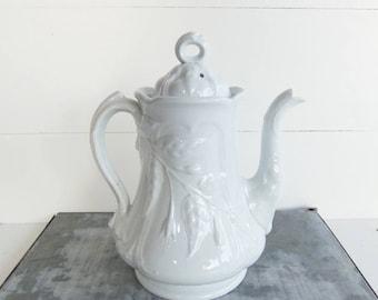 Antique  Ironstone  Coffee Pot, Anthony Shaw Ironstone, Vintage White Ironstone