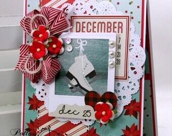 December Ice Skates Christmas Greeting Card Polly's Paper Studio Handmade