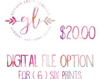 Digital File Option - Set of SIX (6) Prints