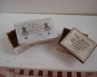 Dollshousew miniature vintage boxes - miniature wooden box - dollshouse fashion box - one inch 1:12th scale -