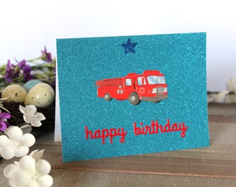Handmade Young Boy Birthday Card, Blue Glitter, Fire Truck, Happy Birthday, Blank Inside, Unique, Free US Shipping,