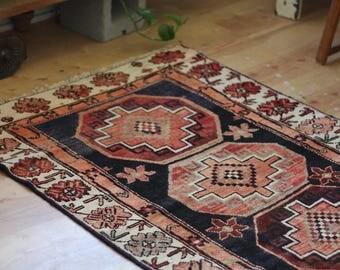 vintage Persian runner rug, earthy rustic geometric rug, happy bohemian terra cotta and black wool rug