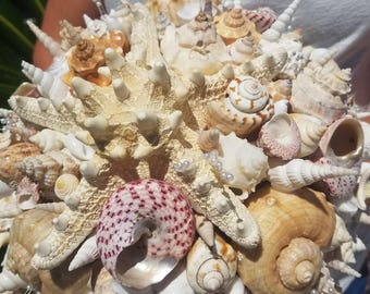 Beach Wedding Seashell Starfish Pearls Bouquet Nautical Weddings Bridal Decor Natural Shells Everlasting Keepsake Bridesmaid Bride Bouquets