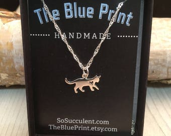 Kitty Cat Heart Sterling Silver Charm Pendant Necklace, Teenager gift, co-worker gift, bridesmaid gift, Cat lady gift, cat lovers gift
