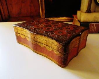 Vintage Florentine Box, Gilded Italian Wood Box, Hollywood Regency, Trinket Box, Florentia Box