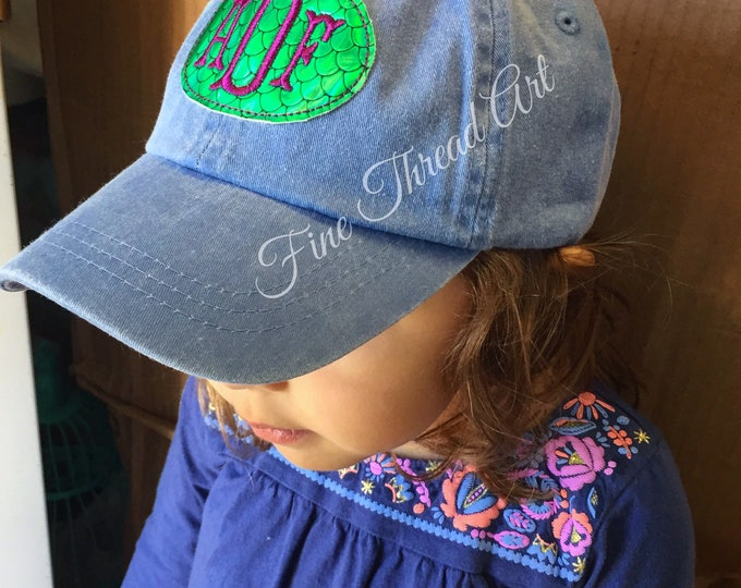 Featured listing image: KIDS Mermaid Scale Monogram Baseball Cap Hat Girl Youth Size Name Initials Leather Strap Beach Vacation