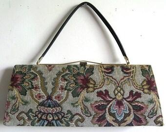 50OFF Event Vintage 1950s Handbags Julius Resnick Burgundy Floral Tapestry Long Purse